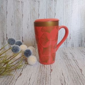STOKES|Coral Pink W/ Gold Ceramic Coffee Mug w/Lid